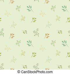 vetorial, experiência., contornos, plantas, amarela, seamless, padrão, azul, temperos, luz, laranja, verde