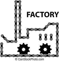 vetorial, fábrica, indústria, corrente, roda dentada, silueta