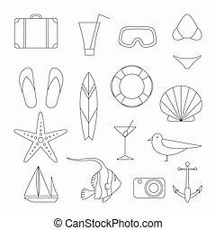 vetorial, férias verão, ícones