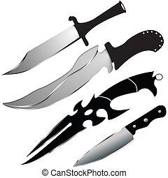 vetorial, facas, jogo, -, especiais