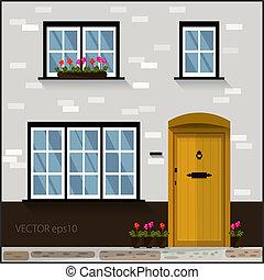 vetorial, fachada, com, porta amarela, e, janelas