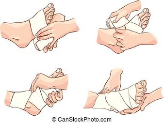 vetorial, faixa, técnica, médico, pé, ilustração
