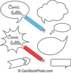 vetorial, fala, bolhas, com, lápis