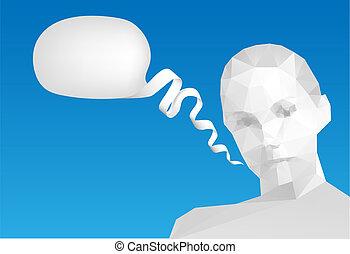 vetorial, fala, cabeça, bolha