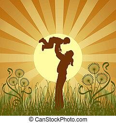 vetorial, família, feliz