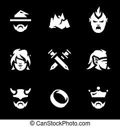 vetorial, fantasia, história, jogo, icons.