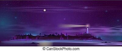 vetorial, farol, à noite, ligado, a, colina