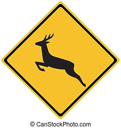 vetorial, fauna, diamante, cruzamento, tráfego, estrada, -, sinal, veado