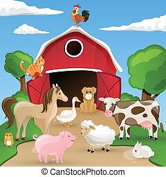 vetorial, fazenda, com, animais