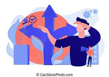vetorial, fazer, conceito, ilustração, decisão