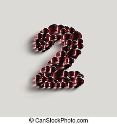 vetorial, feito, número, esferas, vermelho