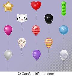 vetorial, feliz, bolas, animais, coloridos, presente, 3d, ilustração, rosto, realístico, aniversário, cobrança, jogo, ar, balões, gel