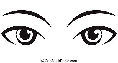 vetorial, femininas, par, eyes., expressivo, ícone