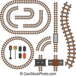 vetorial, ferrovia, e, estrada ferro, trilhas, construção, elementos