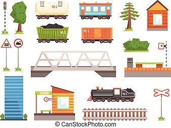 vetorial, ferrovia, trem, caricatura, ilustração