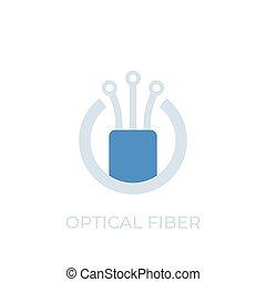 vetorial, fibra, logotipo, óptico, ícone