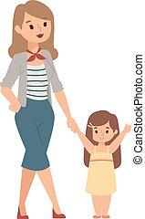 vetorial, filha, illustration., mãe