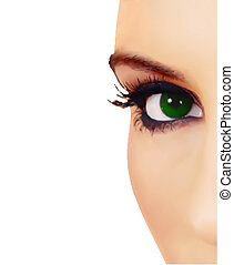 vetorial, fim, eye., mulher, vista