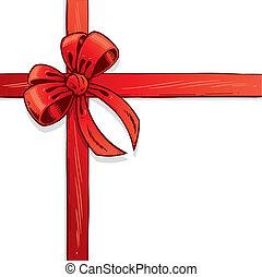 vetorial, fita, vermelho, ilustração, arco