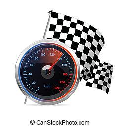 vetorial, flag., checkered, correndo, velocímetro