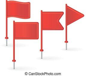 vetorial, flags., jogo, vermelho, alfinete