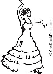 vetorial, flamenco, illustration., dancer.