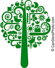 vetorial, flor, árvore, ícones animais