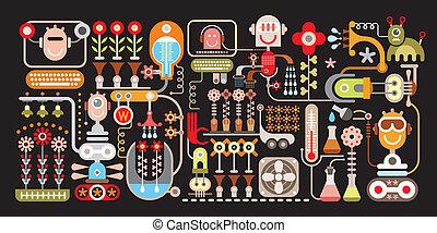 vetorial, flor, ilustração, fábrica