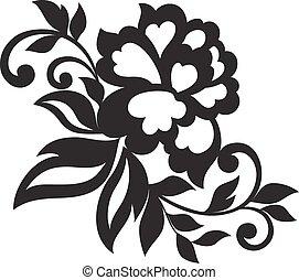 vetorial, flor, ornamento