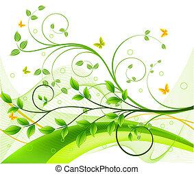 vetorial, floral, abstratos, fundo
