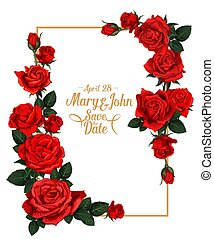 vetorial, floral, casório, armação quadro