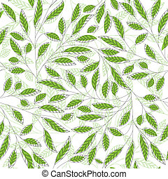 vetorial, floral, fundo, abstratos, seamless, folha