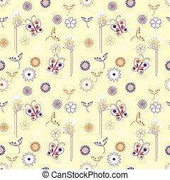 vetorial, floral, fundo, borboletas, seamless