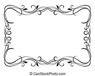 vetorial, floral, ornamental, decorativo, quadro