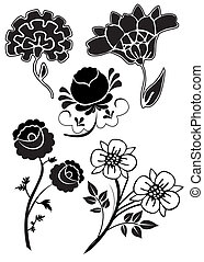 vetorial, flores, 17