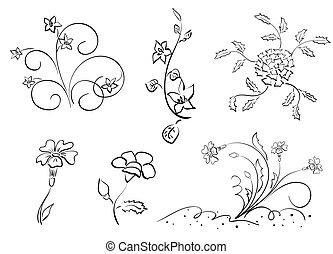 vetorial, flores, jogo, -, elementos