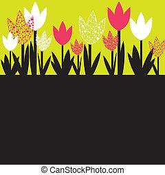 vetorial, flores, primavera, coloridos