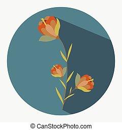 vetorial, flores, ramo, vermelho