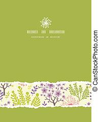vetorial, florescer, árvores, vertical, rasgado, quadro,...