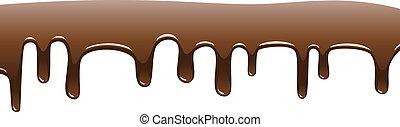 vetorial, fluir, gotas, chocolate