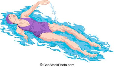 vetorial, flutuante, mulher, water.