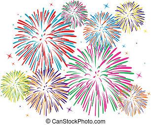 vetorial, fogos artifício, coloridos