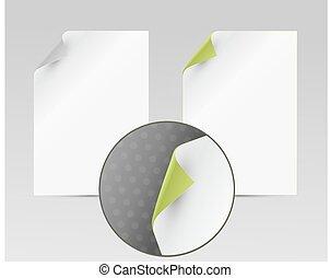 vetorial, folhas, com, girado, borda, isolado, branco, fundo