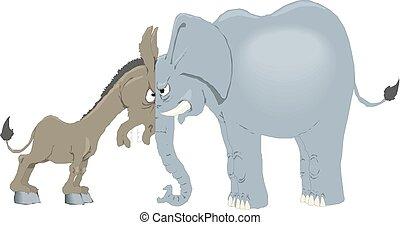 vetorial, fora., dois, republicano, ilustração, americano, conceito, política e. u., enfrentando, burro, parties., elefante, democrata, símbolos
