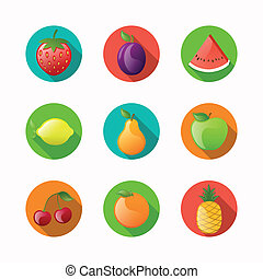 vetorial, fruta, ícones