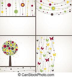 vetorial, fundo, 4, ilustração, plant.
