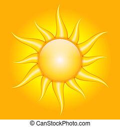 vetorial, fundo alaranjado, com, sol