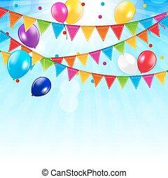 vetorial, fundo, balões, colorido, illustration.