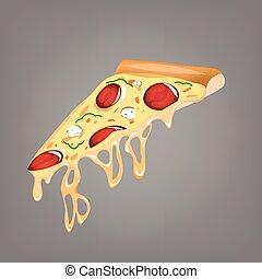 vetorial, fundo, branca, pizza, ícone
