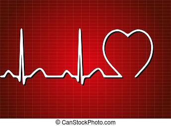 vetorial, fundo, cardiograma
